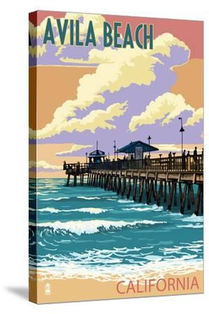 Avila Beach, California - Pier Sunset-Lantern Press-Stretched Canvas Print