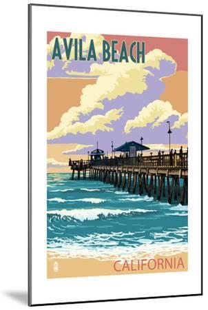 Avila Beach, California - Pier Sunset-Lantern Press-Mounted Art Print