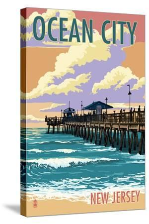Ocean City, New Jersey - Fishing Pier-Lantern Press-Stretched Canvas Print
