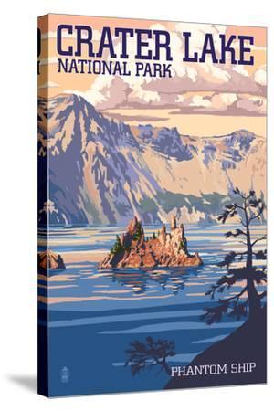 Crater Lake National Park, Oregon - Shoreline and Sunset-Lantern Press-Stretched Canvas Print