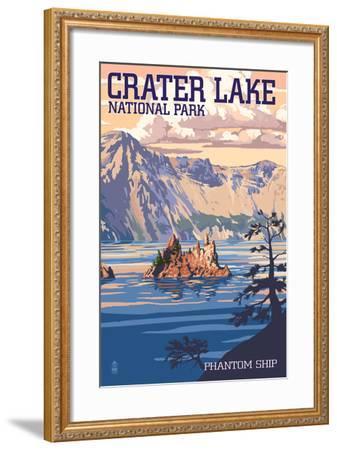 Crater Lake National Park, Oregon - Shoreline and Sunset-Lantern Press-Framed Art Print