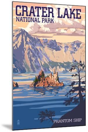 Crater Lake National Park, Oregon - Shoreline and Sunset-Lantern Press-Mounted Art Print