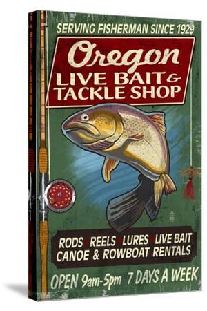 Oregon - Tackle Shop Trout Vintage Sign-Lantern Press-Stretched Canvas Print