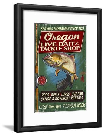 Oregon - Tackle Shop Trout Vintage Sign-Lantern Press-Framed Art Print