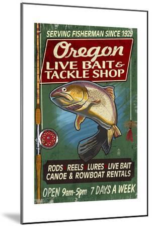 Oregon - Tackle Shop Trout Vintage Sign-Lantern Press-Mounted Art Print