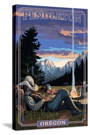 Cowboy Camping Night Scene - Pendleton, Oregon-Lantern Press-Stretched Canvas Print
