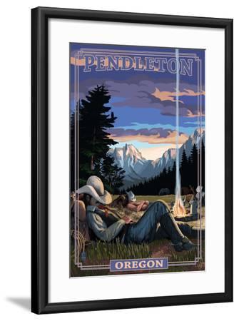 Cowboy Camping Night Scene - Pendleton, Oregon-Lantern Press-Framed Art Print