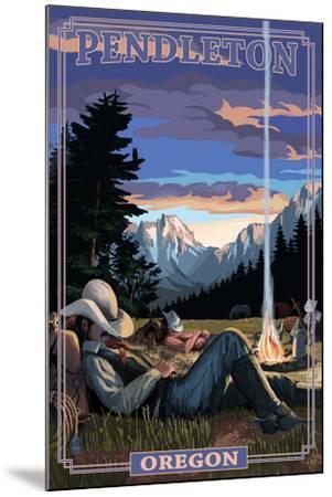Cowboy Camping Night Scene - Pendleton, Oregon-Lantern Press-Mounted Art Print