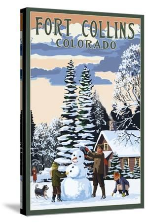 Fort Collins, Colorado - Snowman Scene-Lantern Press-Stretched Canvas Print