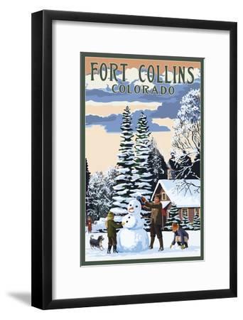 Fort Collins, Colorado - Snowman Scene-Lantern Press-Framed Art Print