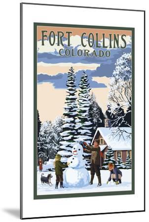 Fort Collins, Colorado - Snowman Scene-Lantern Press-Mounted Art Print