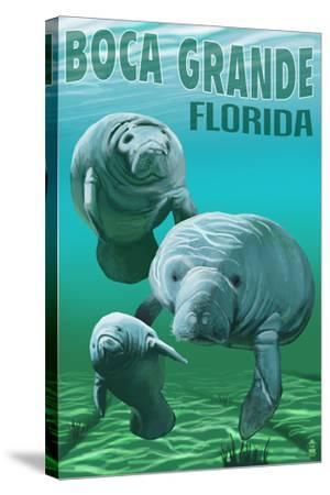 Boca Grande, Florida - Manatees-Lantern Press-Stretched Canvas Print