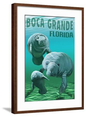 Boca Grande, Florida - Manatees-Lantern Press-Framed Art Print