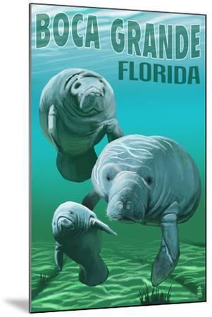 Boca Grande, Florida - Manatees-Lantern Press-Mounted Art Print