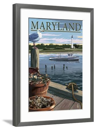 Maryland - Blue Crab and Oysters on Dock-Lantern Press-Framed Art Print
