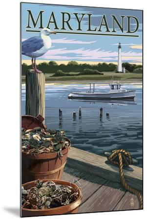 Maryland - Blue Crab and Oysters on Dock-Lantern Press-Mounted Art Print