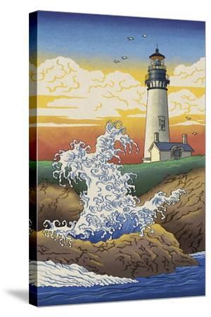 Lighthouse - Woodblock Print-Lantern Press-Stretched Canvas Print