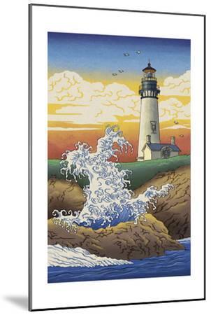 Lighthouse - Woodblock Print-Lantern Press-Mounted Art Print
