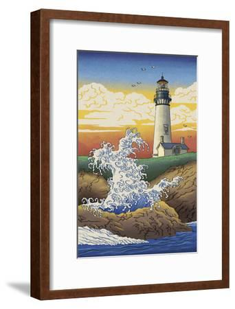 Lighthouse - Woodblock Print-Lantern Press-Framed Art Print