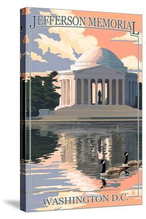 Washington, DC - Jefferson Memorial-Lantern Press-Stretched Canvas Print