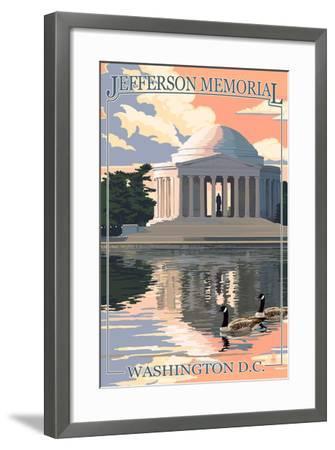 Washington, DC - Jefferson Memorial-Lantern Press-Framed Art Print