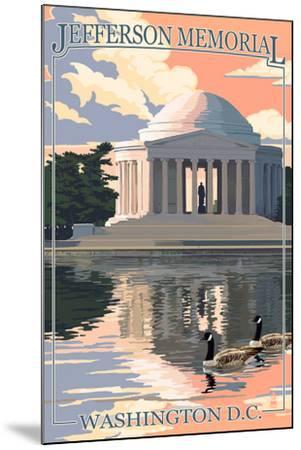 Washington, DC - Jefferson Memorial-Lantern Press-Mounted Art Print