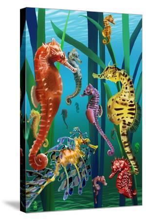 Seahorses-Lantern Press-Stretched Canvas Print