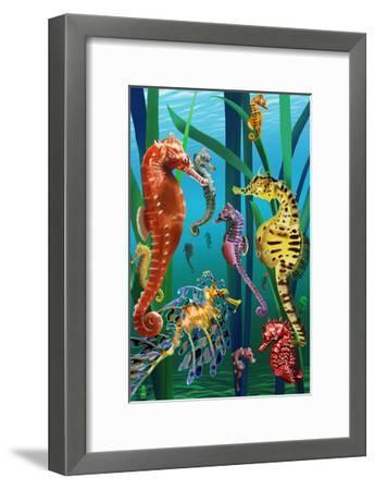 Seahorses-Lantern Press-Framed Art Print