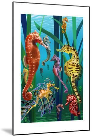 Seahorses-Lantern Press-Mounted Art Print