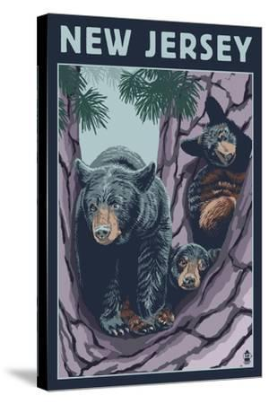 New Jersey - Black Bears in Tree-Lantern Press-Stretched Canvas Print