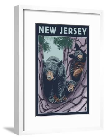 New Jersey - Black Bears in Tree-Lantern Press-Framed Art Print
