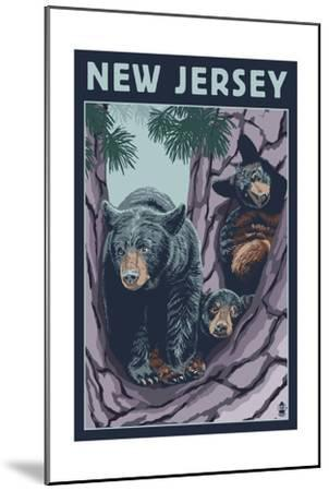 New Jersey - Black Bears in Tree-Lantern Press-Mounted Art Print