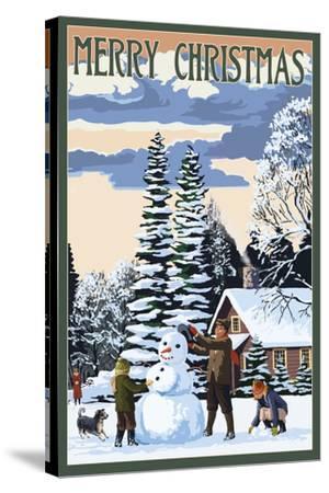 Merry Christman - Snowman Scene-Lantern Press-Stretched Canvas Print