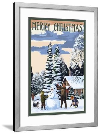 Merry Christman - Snowman Scene-Lantern Press-Framed Art Print