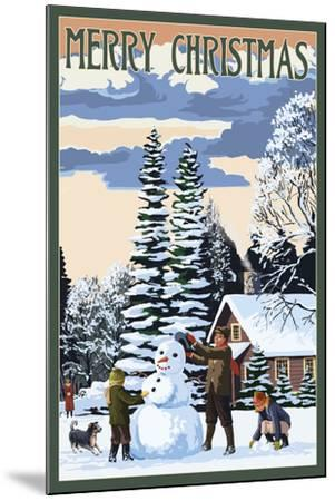 Merry Christman - Snowman Scene-Lantern Press-Mounted Art Print