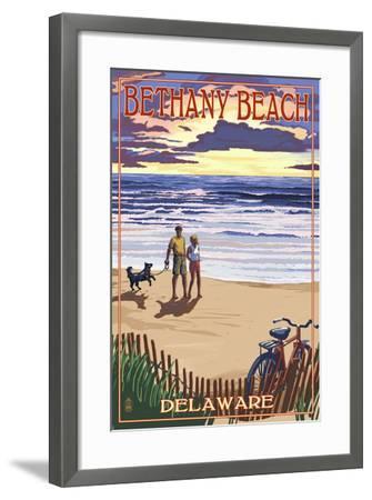 Bethany Beach, Delaware - Beach and Sunset-Lantern Press-Framed Art Print