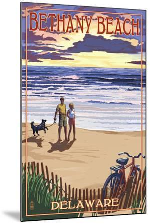 Bethany Beach, Delaware - Beach and Sunset-Lantern Press-Mounted Art Print
