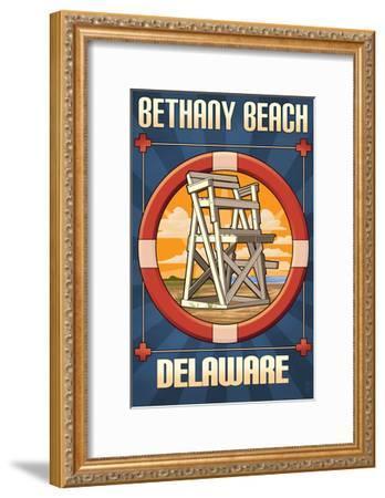 Bethany Beach, Delaware - Lifeguard Chair-Lantern Press-Framed Art Print
