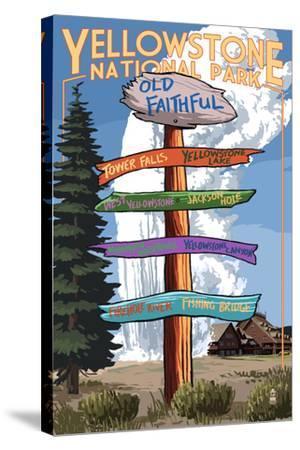 Yellowstone National Park - Signpost-Lantern Press-Stretched Canvas Print