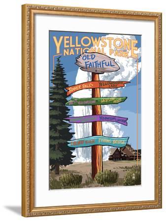 Yellowstone National Park - Signpost-Lantern Press-Framed Art Print