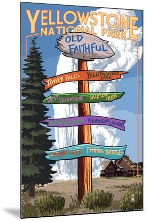Yellowstone National Park - Signpost-Lantern Press-Mounted Art Print