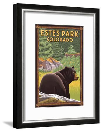 Estes Park, Colorado - Black Bear in Forest-Lantern Press-Framed Art Print