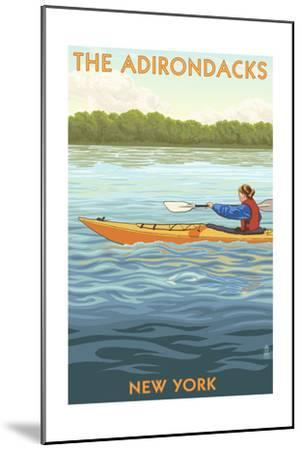 The Adirondacks, New York State - Kayak Scene-Lantern Press-Mounted Art Print
