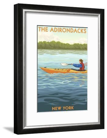 The Adirondacks, New York State - Kayak Scene-Lantern Press-Framed Art Print