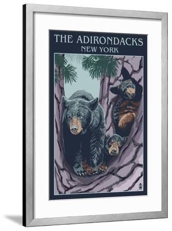 The Adirondacks, New York State - Bear Family in Tree-Lantern Press-Framed Art Print