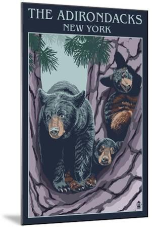 The Adirondacks, New York State - Bear Family in Tree-Lantern Press-Mounted Art Print