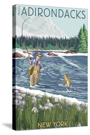The Adirondacks, New York State - Fishing Scene-Lantern Press-Stretched Canvas Print