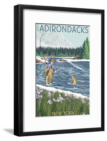 The Adirondacks, New York State - Fishing Scene-Lantern Press-Framed Art Print