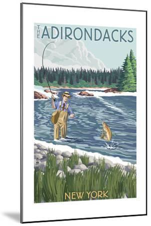 The Adirondacks, New York State - Fishing Scene-Lantern Press-Mounted Art Print