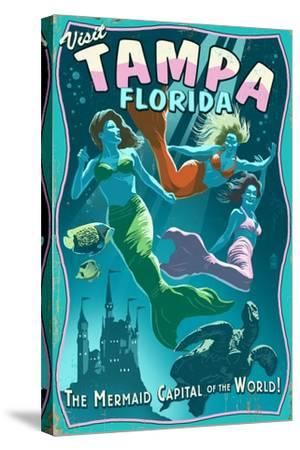 Tampa, Florida - Live Mermaids-Lantern Press-Stretched Canvas Print